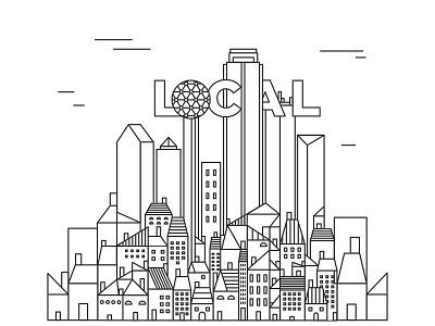 Local dribbble bookcover city skyline dallas illustration book
