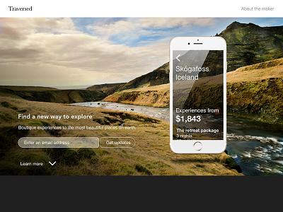 Traversed Landing Page design landing page app travel