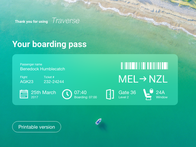 Daily UI #24 - Boarding pass web design challenge dailyui travel pass boarding