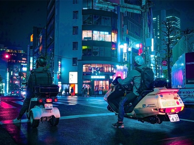 Retrofit future tech neon japan cyberpunk