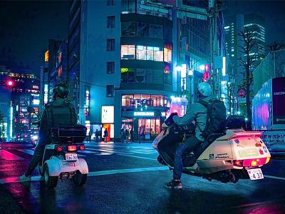 Retrofit future tech neon japan cyberpunk