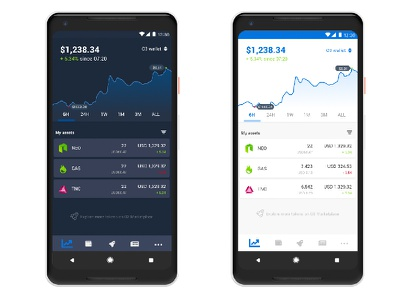 Light and dark theme for crypto currency wallet app theme ui app wallet crypto