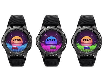 Outrun inspired watch face neon retro videogame s3 samsung watchface watch ui design outrun