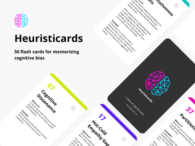 Heuristicards - Flash cards for cognitive bias user experience education psycology mental ux branding typography illustration design