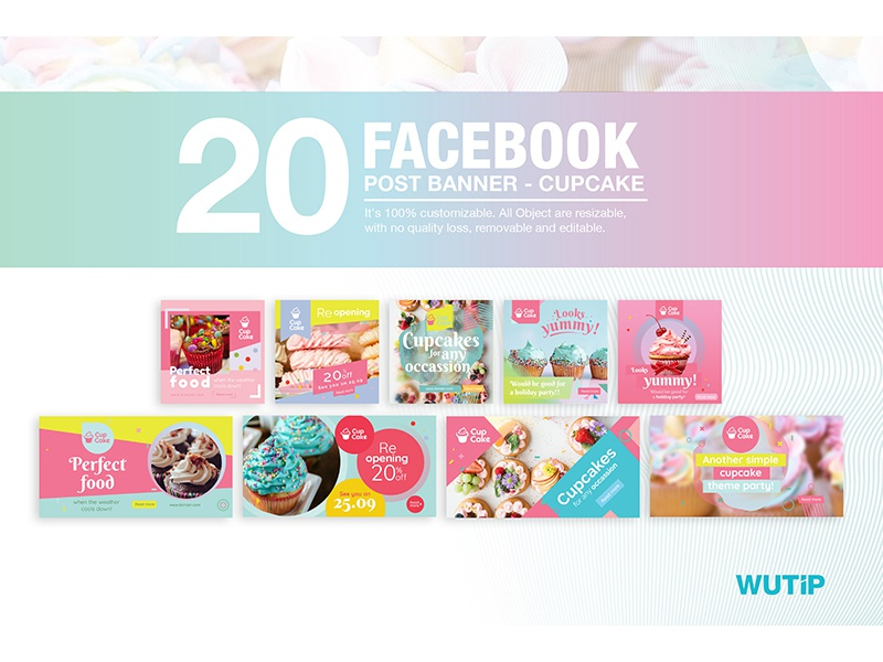 20 Facebook Post Banners Cupcake Cover by Wutip on Dribbble