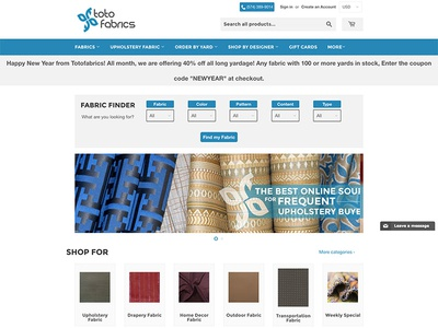 Toto Fabrics fabric design ecommerce webdesign webpage shopify website