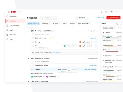 Task Scheduler ui assign dropdown design system scheduler web product filters tasks drag and drop dashboad