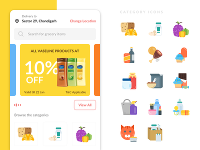 Grocery Application illustration iconography ios android food home layout location icons category deals grocery