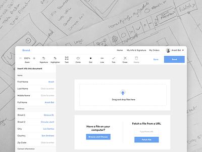 Choose a form ux ui website detail drag drop highlight edit doc fill document app web