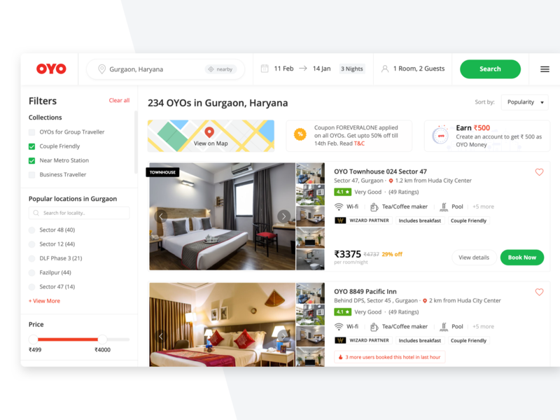 OYO Listing Page layout membership pricing amenities nearby coupon oyo urgency listing real estate collections filters maps location recommendation search booking hotel