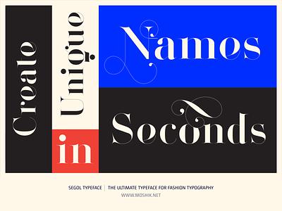 Create beautiful Names using the new Segol Typeface fashion typeface