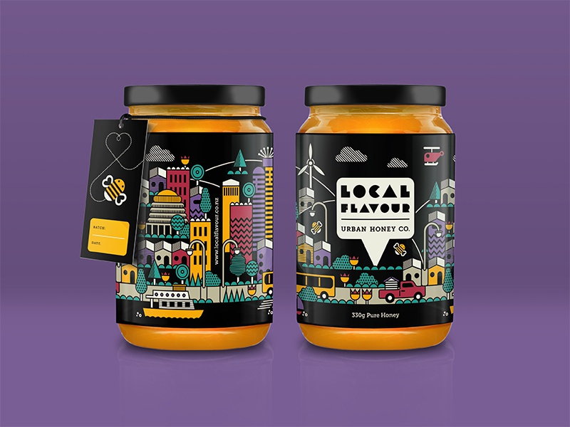 Local Flavour Urban Honey zealand new bees buildings architecture colours honey urban branding packaging illustration