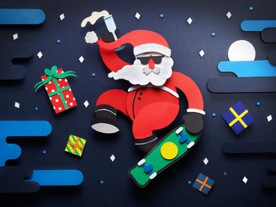 Rad Santa presents papercraft cool fun festive rad winter night stars skateboarding xmas santa