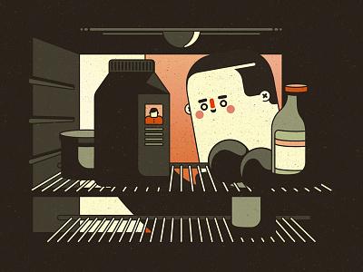 Missing style frame character design milk fridge kitchen vector