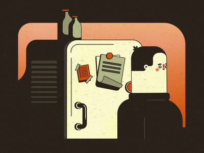 Missing Fridge style frame character design kitchen fridge vector