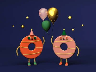 Party Biscuits character design party balloon biscuits food 3d c4d