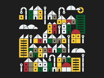 Cityscape houses vector buildings landscape city