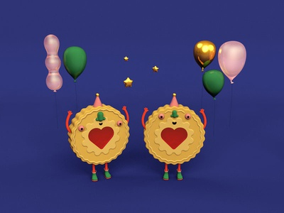 Jammy Dodgers character design 3d c4d balloons biscuits party