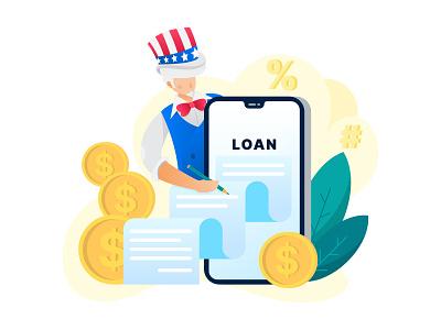 loan coin scroll blog mobile loan usa uncle sam patriot art vector artwork adobe illustrator flat graphic design vector illustration