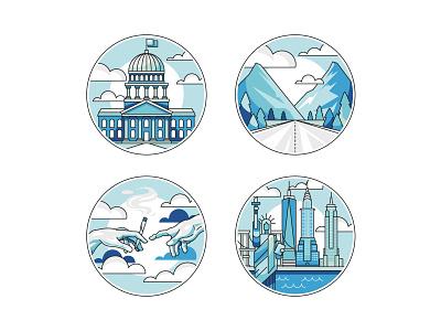 ThePass Website Icons blue ckyline city illustration city michelangelo big apple adobe illustrator graphic design icon vector illustration