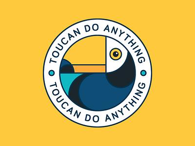 Toucan Sticker circle coaster orange toucan tropic bird ui icon a day cute sticker vector artwork design adobe illustrator graphic design vector illustration
