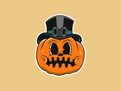 Spooktober Pumpkin 🎃 spooky scary disney art design vector artwork adobe illustrator flat jack o lantern pumpkin halloween oktober vintage old cartoon rubberhose vector illustration