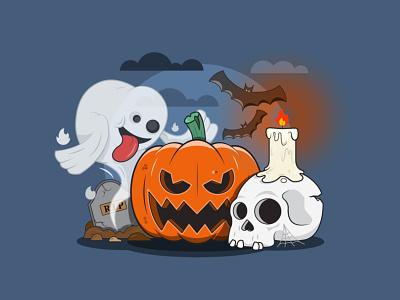 Happy Halloween! 💀🎃👻🦇 halloween design darkness bats ghost vector adobe illustrator scary skull pumking spooktober spooky halloween illustration dribbbleweeklywarmup