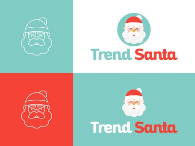 TrendSanta Logo concept icon flat holiday snow santaclaus christmas logotype dribbble holidays logo adobe illustrator graphic design vector illustration