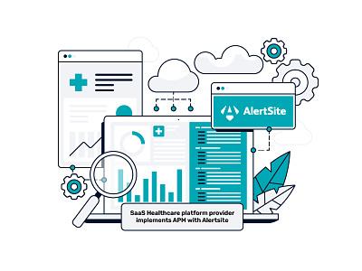 Web illustration using Alertsite saas app saas macbook vector artwork website ui geometric cloud storage gears adobe illustrator flat graphic design vector illustration