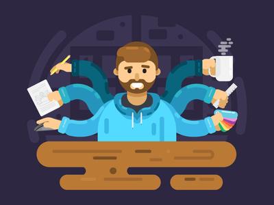 Latenight multitasking illustration
