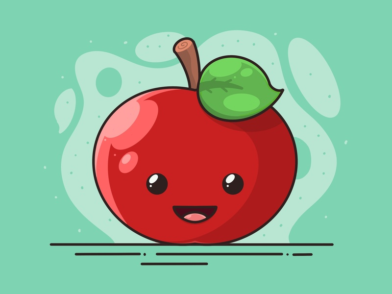 Apple Illustration 🍎 happy sweet expression smiley face fruit character ui illustration art procreate red smile apple cute sticker art graphic design flat illustration