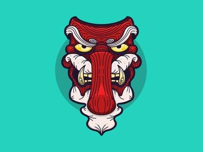 Tengu Mask Illustration