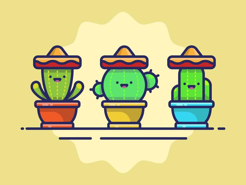 Cactus Icons 🌵 pit plant plant amigos line art line icon sticker adobe illustrator vector artwork cute graphic design flat vector icon illustration cactus