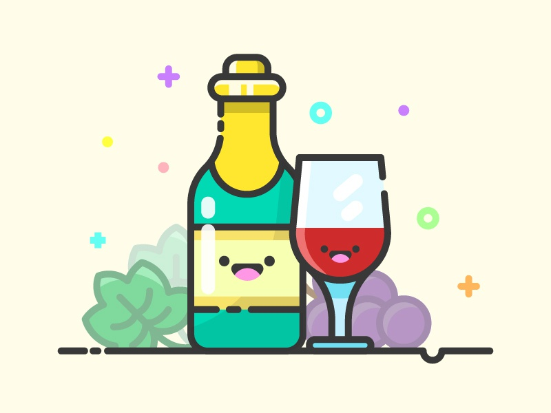 Wine Kawaii Icon grapes icon a day kawaii icon wine bar alcohol drink wine bottle wine kawaii cute vector artwork adobe illustrator design sticker art graphic design flat vector icon illustration