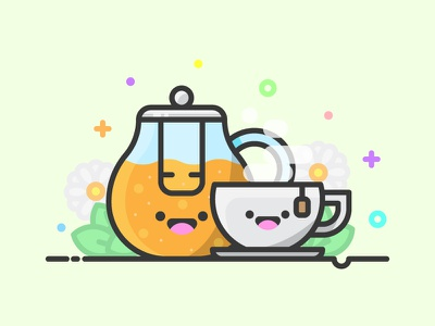 Tea Kawaii Icon icon a day tea bag hot smile kawaii kawaii icon tea cup hot tea tea pot tea vector artwork cute adobe illustrator design art graphic design flat vector icon illustration