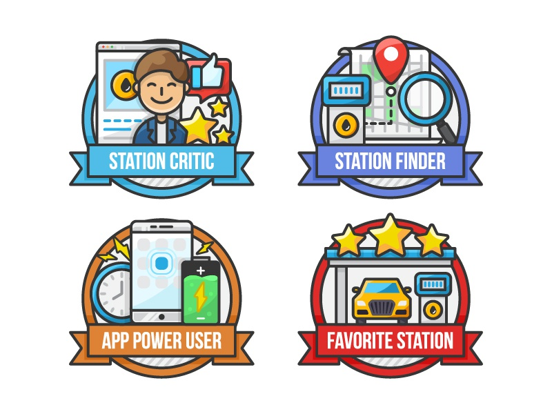 Omanoil App Badges - Set 2 line art badges clock power user battery gas station map critic app ui icon a day vector artwork adobe illustrator design art graphic design flat vector icon illustration