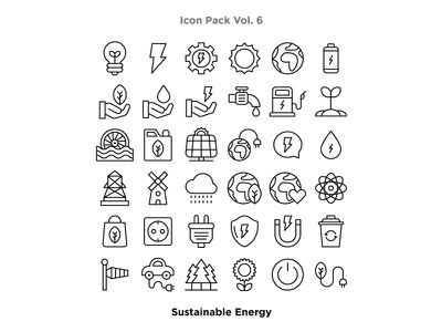 Vol. 6 - Sustainable Energy Icon Pack line art iconography icon set icon a day vector artwork ecology recycle etheric rain bolt natural power power energy electric car electric adobe illustrator graphic design vector icon illustration