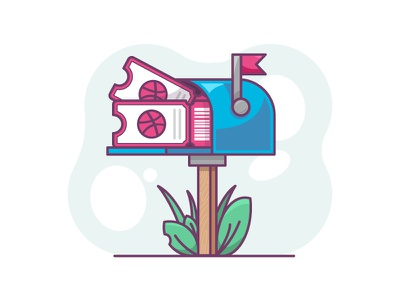 2 Dribbble Invites prospect tickets mail draft dribbble invite ticket dribbble invitation invites giveaway dribbble invites mailbox line art icon a day vector artwork design adobe illustrator graphic design icon vector illustration