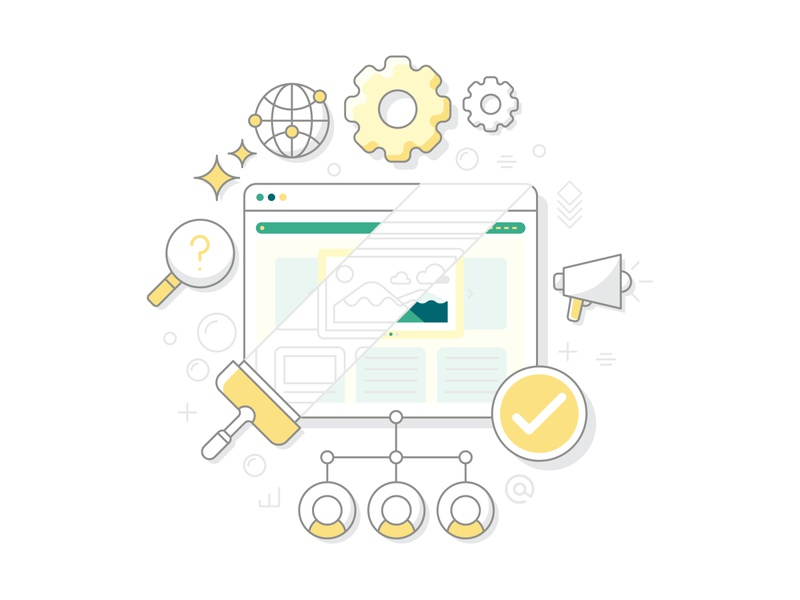 Diginomic Clean and Functional Website Illustration yellow clean ui graphicdesign stars bubbles minimal adobe illustrator cc line vector line art vector artwork dribbble shot functional website clean checkmark search global gear vector illustration