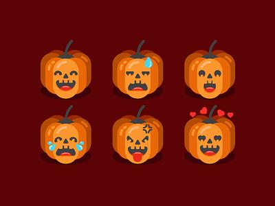 Jack-O-Lantern Emoticons 🎃 scary minimal emoticons cry emotion jack o lantern pumkin spooky halloween design halloween icon a day cute vector artwork design flat adobe illustrator graphic design icon vector illustration
