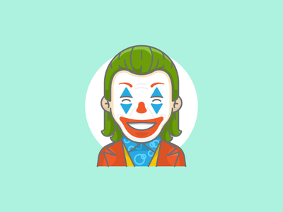 Joker smile villain movie laugh happy joaquin phoenix clown character joker batman sticker art design vector artwork adobe illustrator flat graphic design icon vector illustration
