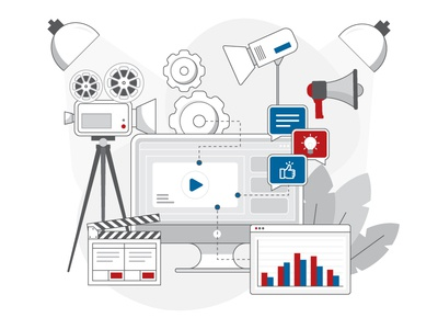 Video Production Illustration monday website editing explainer video movie lights video action camera imac video production vector artwork design adobe illustrator flat icon graphic design vector illustration