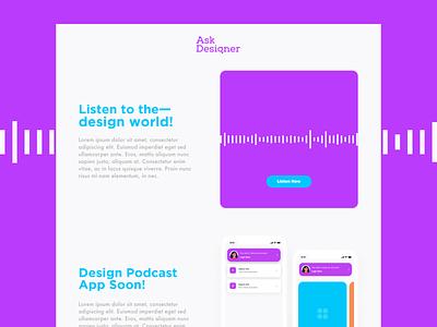 Ask Designer podcasting uxui ux landing page website podcast ask designer