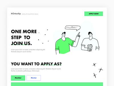 M3ntorship Registration typography illustration branding join us registration development m3ntorship initiative minimal uxdesign uxui ux mentees mentors