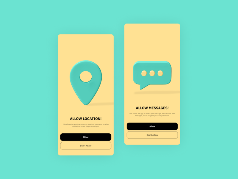 Permissions Location & Messages design app 3d ux design ui app uxui product design