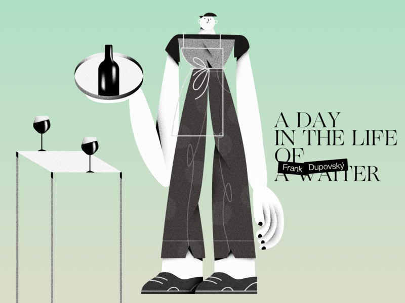 A day in the life of a waiter layout design illustration warmup website editorial waitor