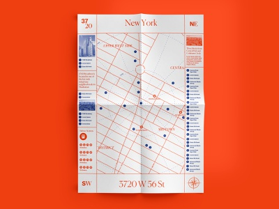 Map Design duotone identity real estate cartography graphic brand nyc new york manhattan design map