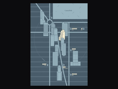 Map Design duotone illustration skyscraper buildings cartography design map new york manhattan