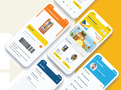 Grocery Store Mobile App lists cards product eat web tabs graphicdesign yellow flow carousel barcode flat ux ui shoping mobile app onboarding ui interaction illustration branding design
