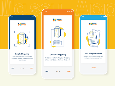 Onboarding for Massy App ui ios yellow ai figma products food shopping app barcode illustration flat carousel onboarding screen